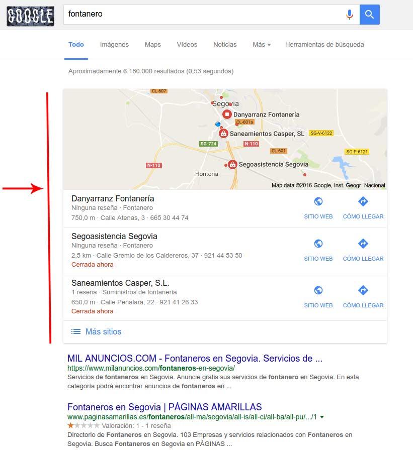 resultados google my business en google