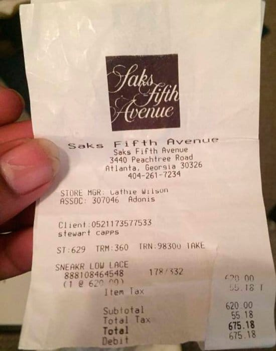 ticket saks fifth avenue