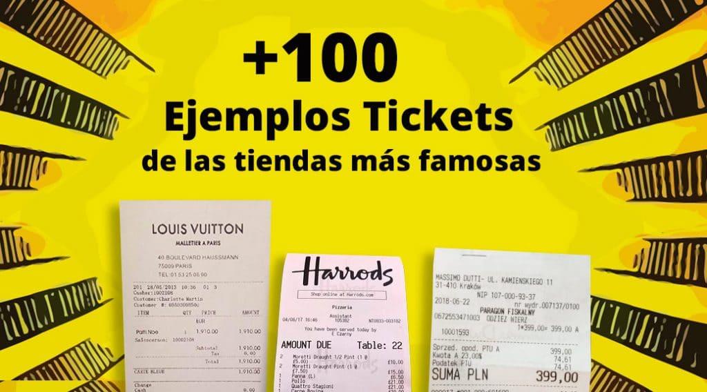 100 ejemplos de tickets de compra