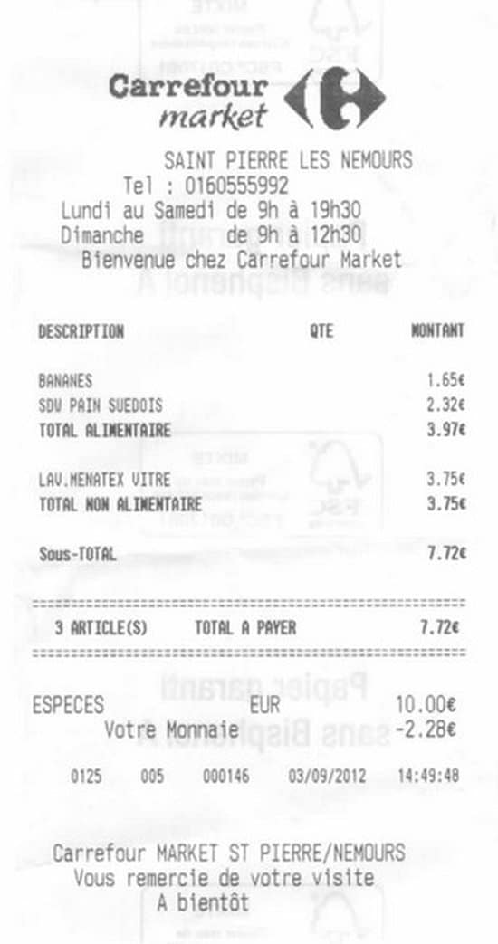 Ticket de Carrefour Market