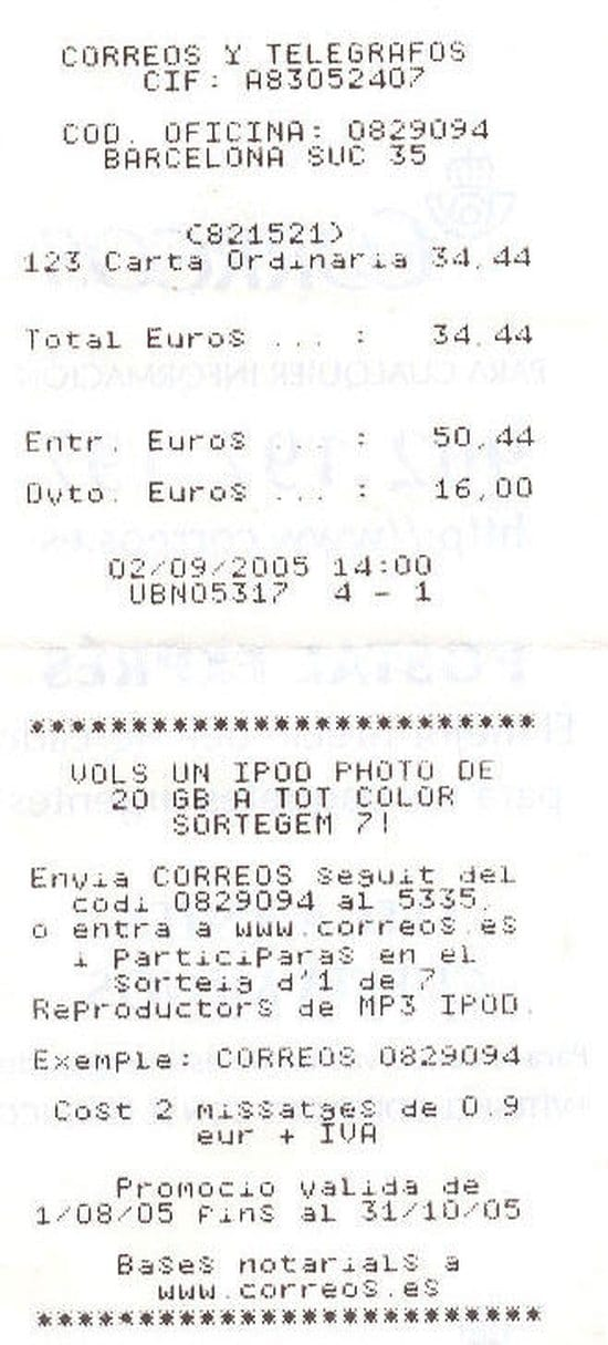 ticket correos
