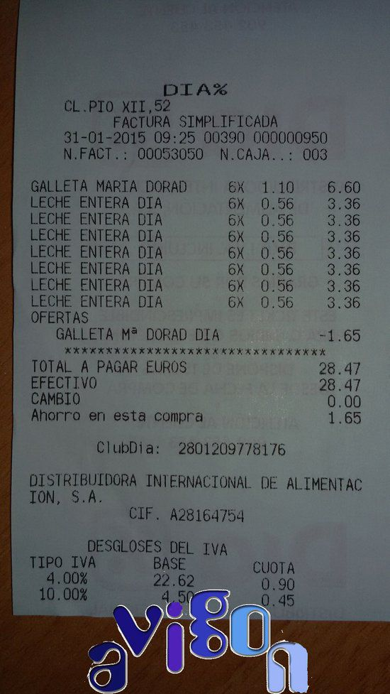 Ticket de supermercado Dia