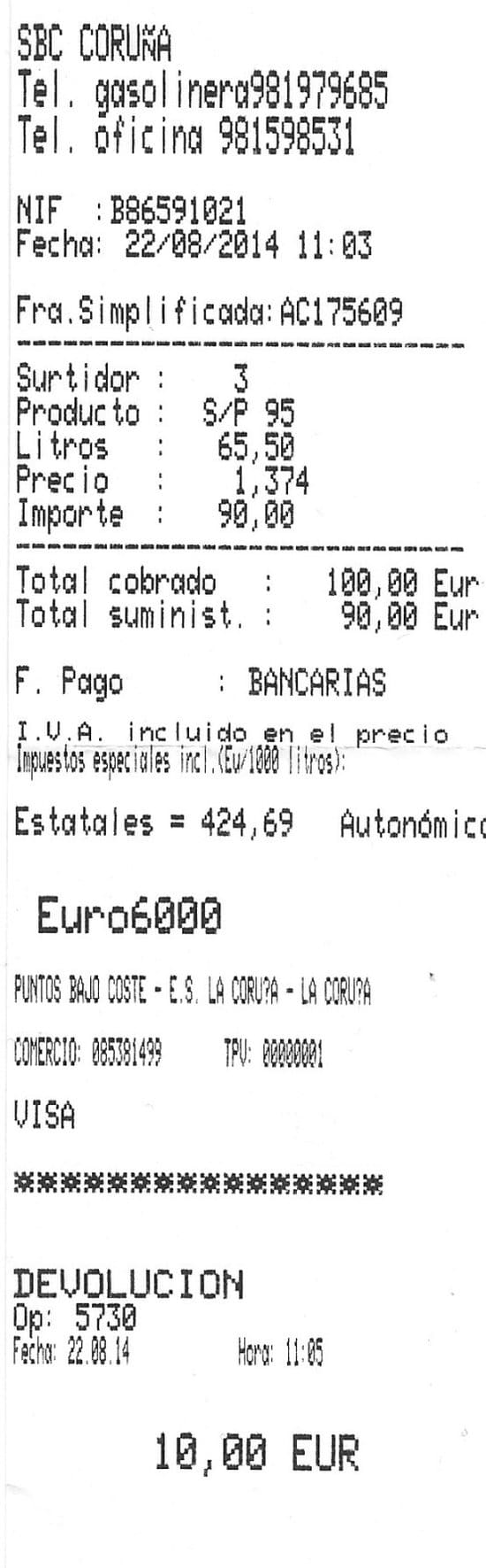 Ticket de Gasolinera Low Cost