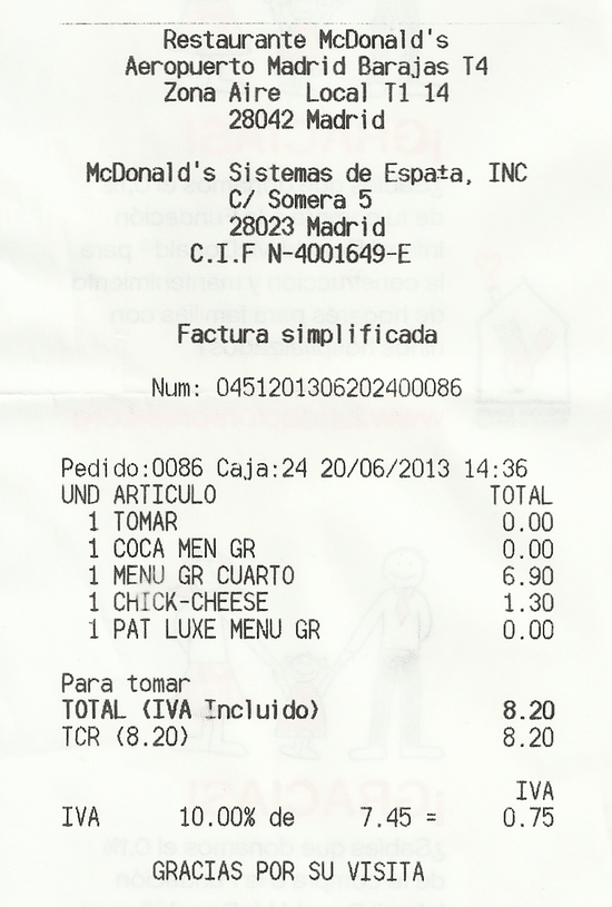 ticket macdonalds