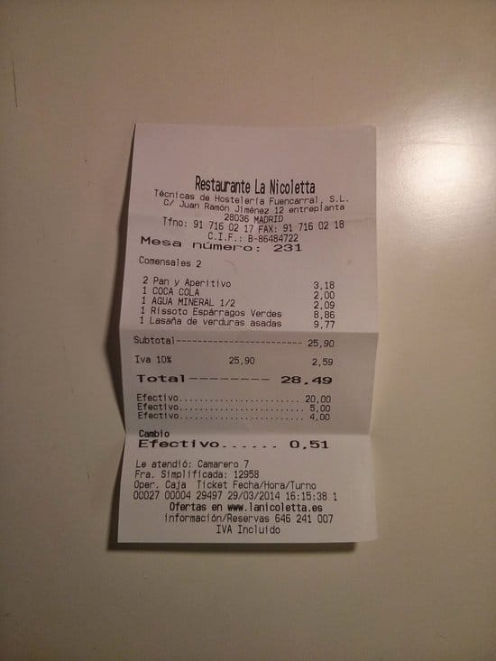 ticket restaurante madrid