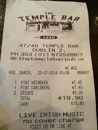 ticket the temple bar pub