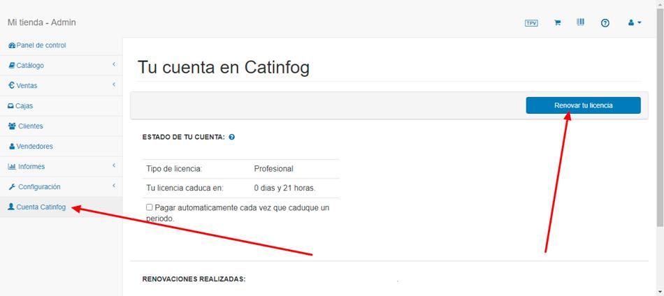 renovar licencia catinfog